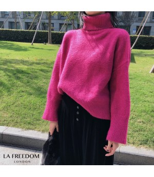 LA Freedom Multcolor High Colar Sweater-Pink