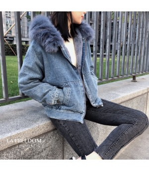 LA Freedom Fox Hair Colar Jeans Coat