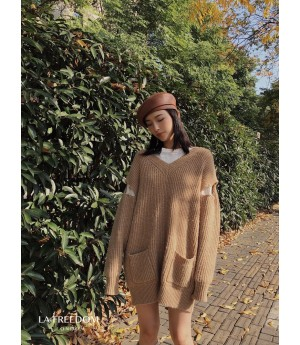 LA Freedom Broken Sleeve Pin Sweater-Khaki