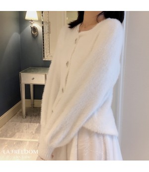 LA Freedom Diamond Button Water Velvet Cardigan