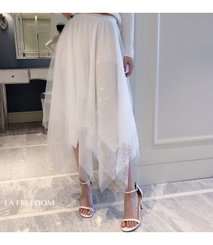 LA Freedom Irregular White Silk Skirt