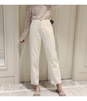 LA Freedom Loose Straight White Jeans