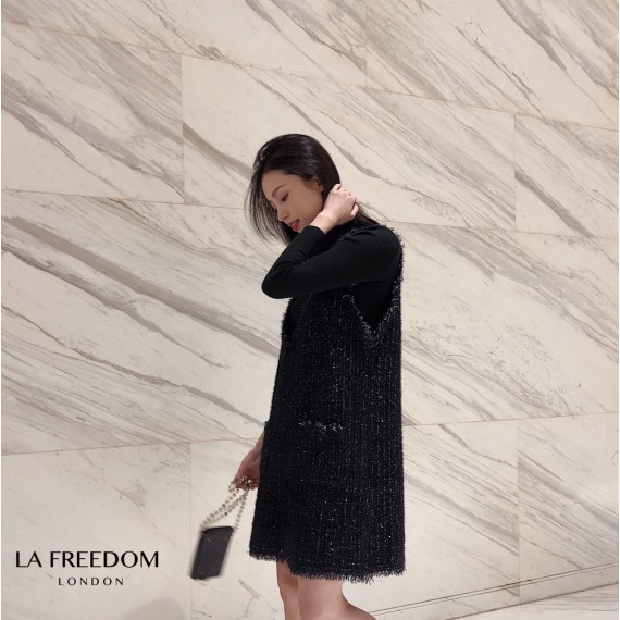 LA Freedom Shinning Knit Dress-Black