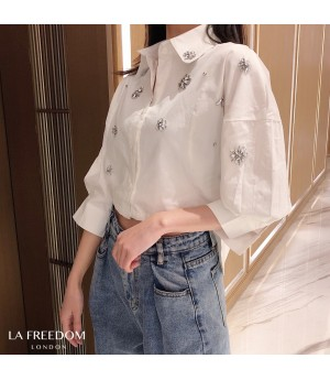 LA Freedom Retro Handmade Diamond Shirt-White