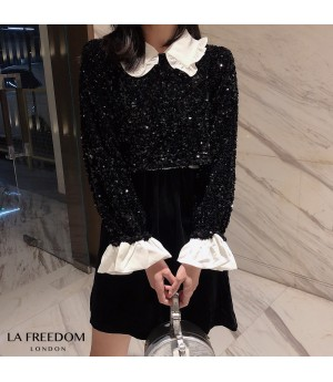 LA Freedom Doll Collar Sequins Dress