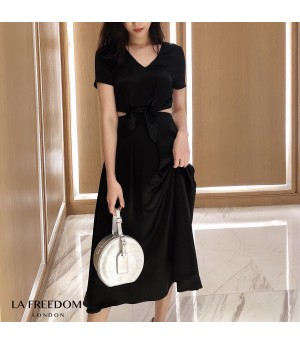 LA Freedom Design Silk Bow-Knot Dress-Black
