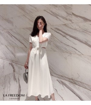 LA Freedom Design Silk Bow-Knot Dress-White