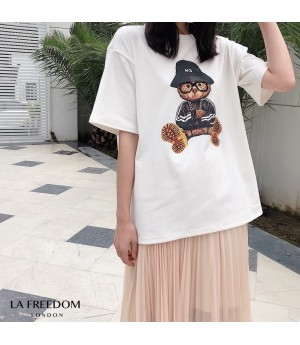 LA Freedom Handmade Glasses Bear Shirt-White