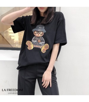 LA Freedom Handmade Glasses Bear Shirt-Black