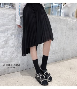 LA Freedom Asymmetry Split Skirt-Black