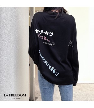 LA Freedom Beauty Girl Printing Shirt-Black