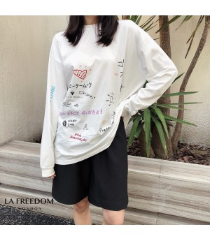 LA Freedom Beauty Girl Printing Shirt-White