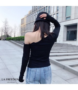 LA Freedom  Oblique Shoulder Base Layer Shirt-Black