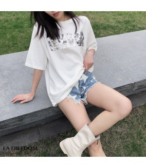 LA Freedom Sequins Short Sleeve Shirt-White