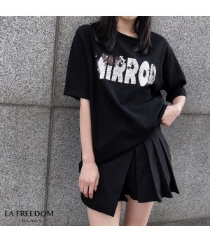 LA Freedom Sequins Short Sleeve Shirt-Black
