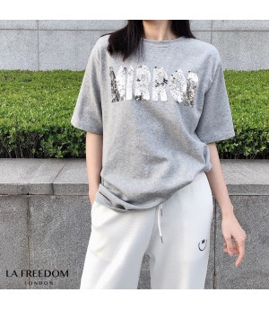 LA Freedom Sequins Short Sleeve Shirt-Grey