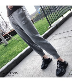LA Freedom Smile Face Leisure Pants-Grey