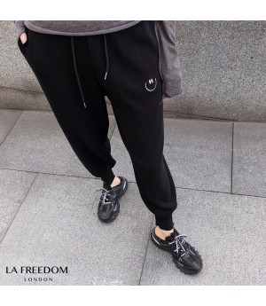 LA Freedom Smile Face Leisure Pants-Black