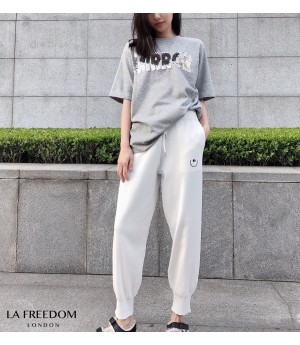 LA Freedom Smile Face Leisure Pants-White