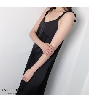 LA Freedom Satin Bow-Knot Dress-Black