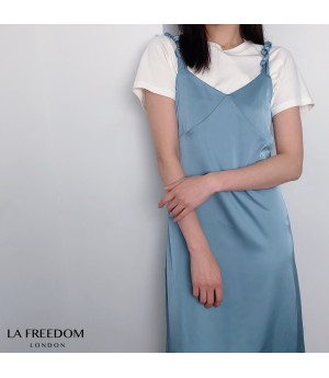 LA Freedom Satin Bow-Knot Dress-Blue