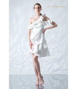 VIVI LA Freedom Pearlescent White Temperament Little Dress