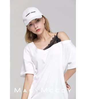 MacyMccoy Lace splicing V collar T-White