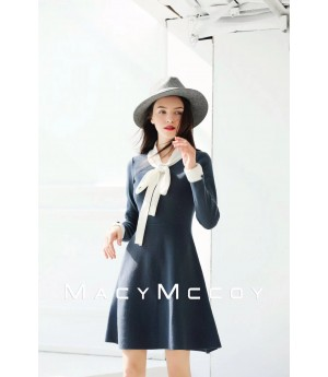 MacyMccoy Bowknot Dress-Blue