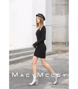 MacyMccoy Hollowed out long dress-Black