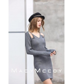 MacyMccoy Hollowed out long dress-Grey