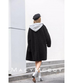 MacyMccoy Wool Coat-Black