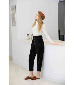 MacyMccoy High Waist Pants-Black
