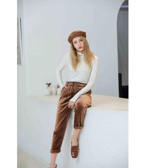 MacyMccoy High Waist Pants-Brown