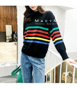 MacyMccoy Rainbow Sweater-Black