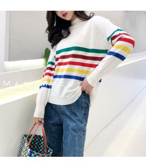 MacyMccoy Rainbow Sweater-White