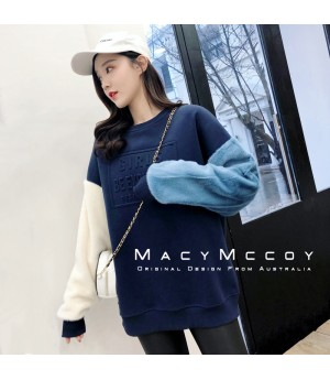 MacyMccoy Colored Sleeve Hoodie-Blue