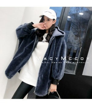 MacyMccoy Wool Coat with Hat-Blue