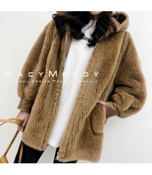 MacyMccoy Wool Coat with Hat-Brown