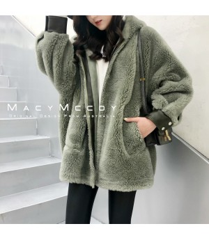 MacyMccoy Wool Coat with Hat-Green