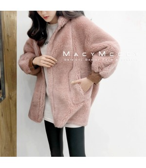 MacyMccoy Wool Coat with Hat-Pink