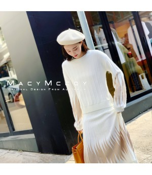 MacyMccoy Muiltcolor Wool Skirt Set-White
