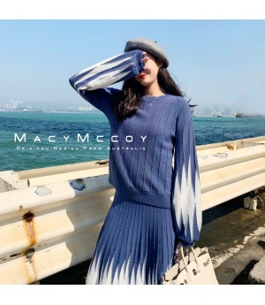 MacyMccoy Muiltcolor Wool Skirt Set-Blue
