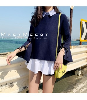 MacyMccoy Shirt&Sweater Two Set-Dark Blue