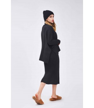 MacyMccoy Tricolor Wool Half Skirt Suit-Black
