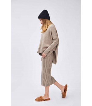 MacyMccoy Tricolor Wool Half Skirt Suit-Coffee