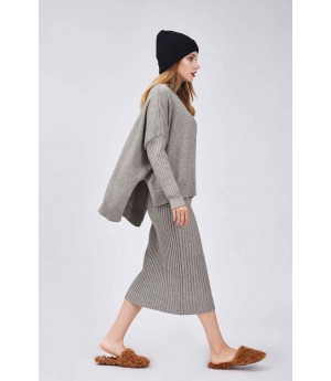 MacyMccoy Tricolor Wool Half Skirt Suit-Grey