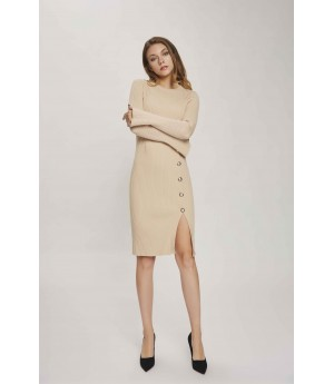 MacyMccoy Gold Buckle Slit Sweater Dress-Apricot