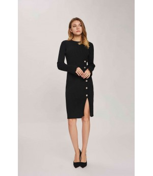 MacyMccoy Gold Buckle Slit Sweater Dress-Black