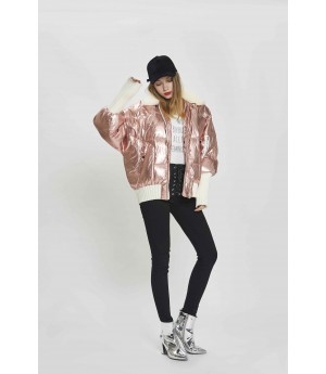 MacyMccoy Metal Color Down Jacket-Rose Gold