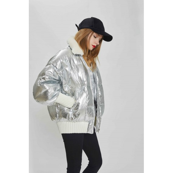 MacyMccoy Metal Color Down Jacket-Silvery